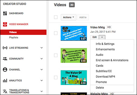 YouTube YouTube video marketing cards