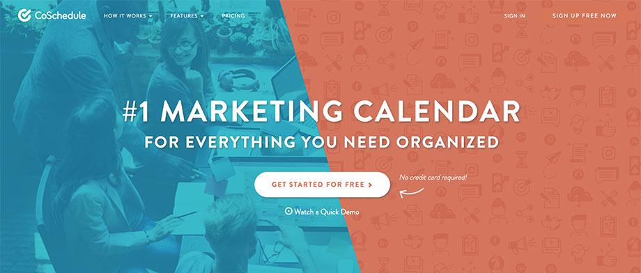 image of CoSchedule home page
